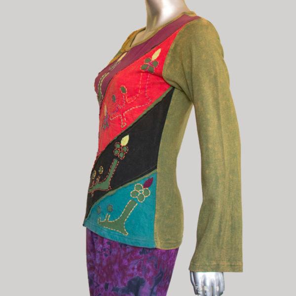 Women's multi color patch work T-shirt