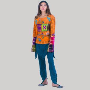 Women's symmetrical razor Flower Hand Worked T-shirt