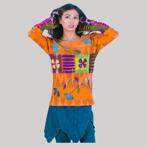 Women's symmetrical razor Flower Hand Worked T-shirt