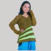 Women's garments horizontal stripes razor patches T-shirt