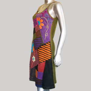 Women's asymmetrical razor multi patches Tank Dress