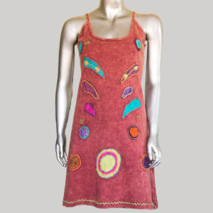 Women's aplic hand work Tank Dress