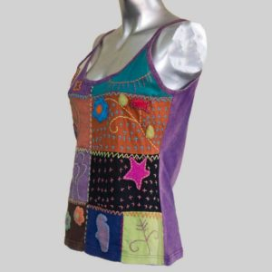 Tank top mix patch hand work (Purple)