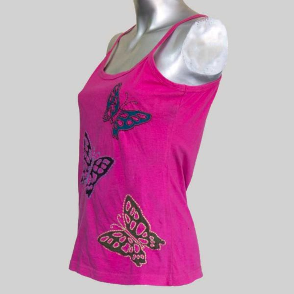 Women's hand stitched flying butterflies tank top