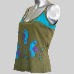 Women's Garments Birds Hand worked Tank top