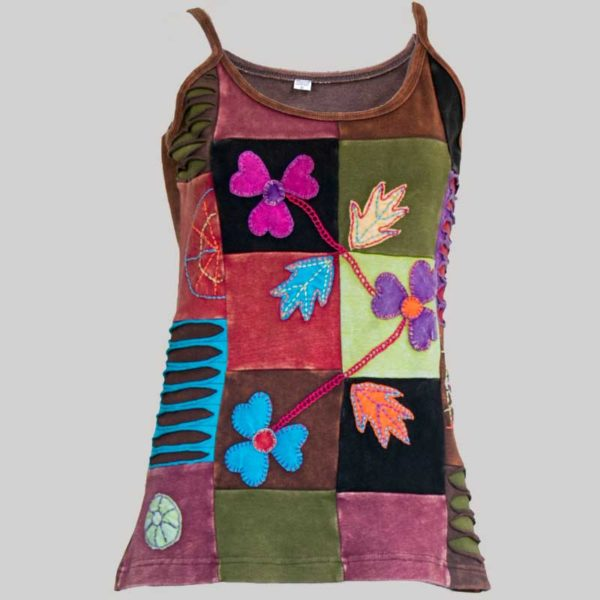 Women's Garments multi colored patches Tank Top