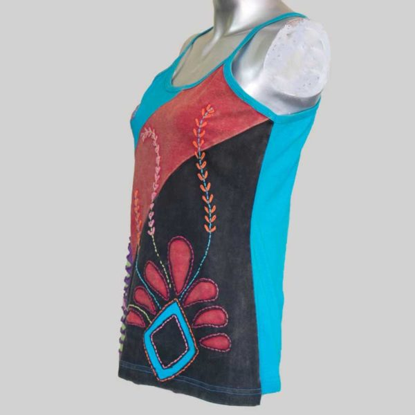 Tank top with slight razor cut patches (Blue)