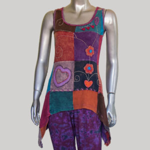 Women's flower hand work patches Tank Top