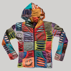 Children's asymmetrical razor cut multi color patch Jacket