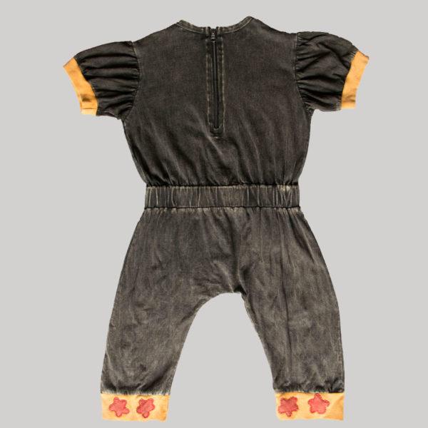 Children's cartoon motif stitched Jump Suit