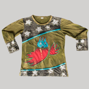 Children's star owl cut hand work T-shirt
