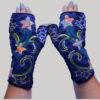 Gloves emb & hand stitch blue