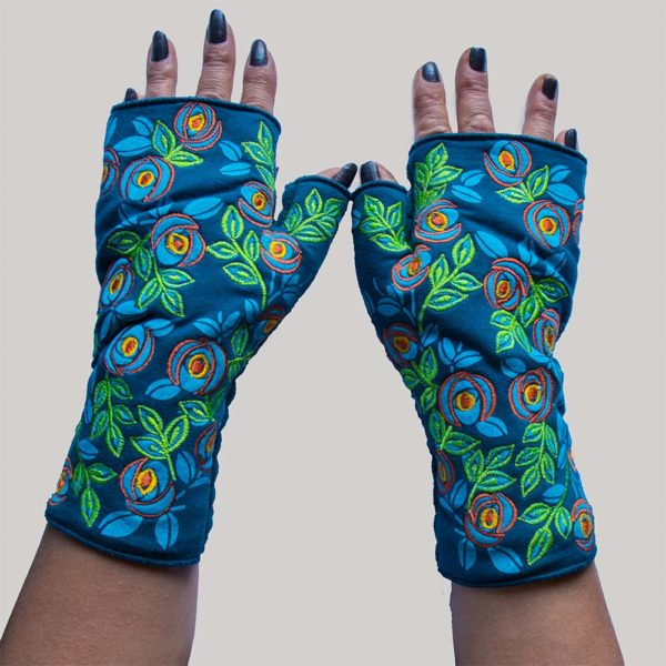 flower printed with outline embroidery glove petrol
