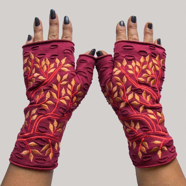 leaf gloves maroon