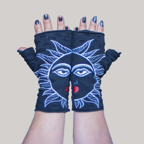 sun face glove black