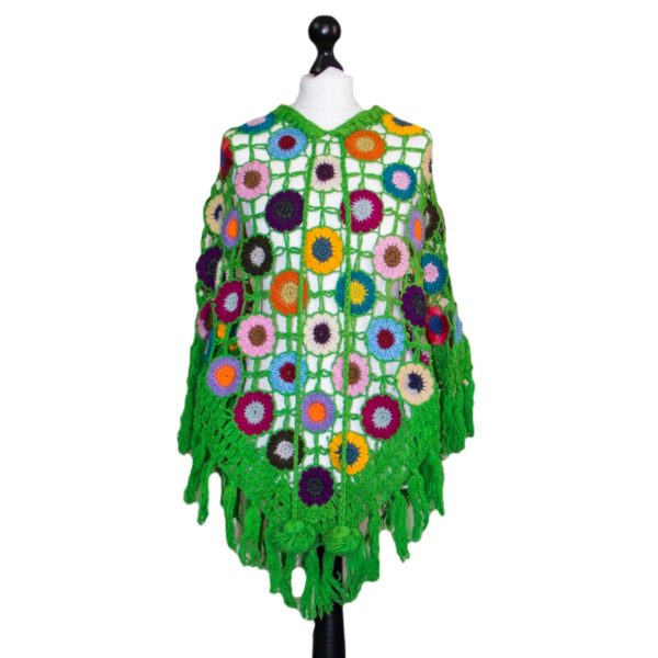 woolen crochet hand maid flower patch poncho.